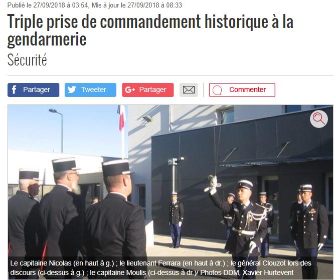 64ca32856d5 C est une page importante de la gendarmerie de Muret qui s est écrite mardi  matin avec une triple prise de commandement   celle des nouveaux  commandants de ...